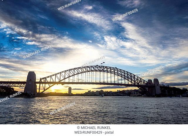 Australia, Sydney, Harbour bridge at sunset