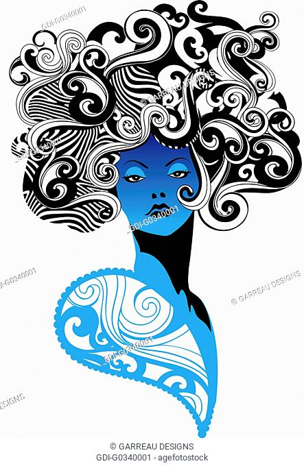 Retro style blue and black woman design