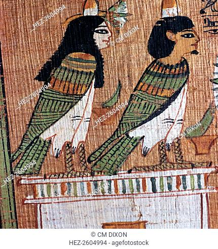 Egyptian papyrus depicting two 'soul-birds' (Bas) from the papyrus of Ani, representing Ani and his wife. From the British Museum's collection, 13th century BC