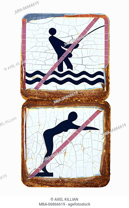 two old prohibitions signs, fishing and bathing forbidden, cut-out in front of white background