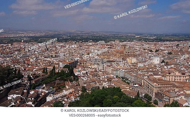 Cityscape of Granada - beautiful city in Andalusia, Spain