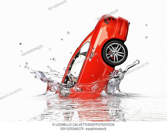 Red generic sedan car, falling into water splashing. Isolated on white background