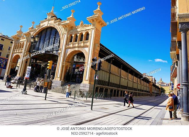 Zaragoza, Central Market, Cesar Augusto Street, Saragossa, Aragon, Spain