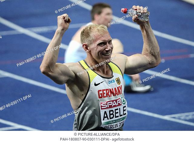 07 August 2018, Germany, Berlin: Track and Field: European Athletics Championships in the Olympic Stadium. Decathlon, 400 m