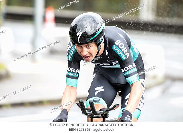 Pawel Poijanski at Zumarraga, at the first stage of Itzulia, Basque Country Tour. Cycling Time Trial race