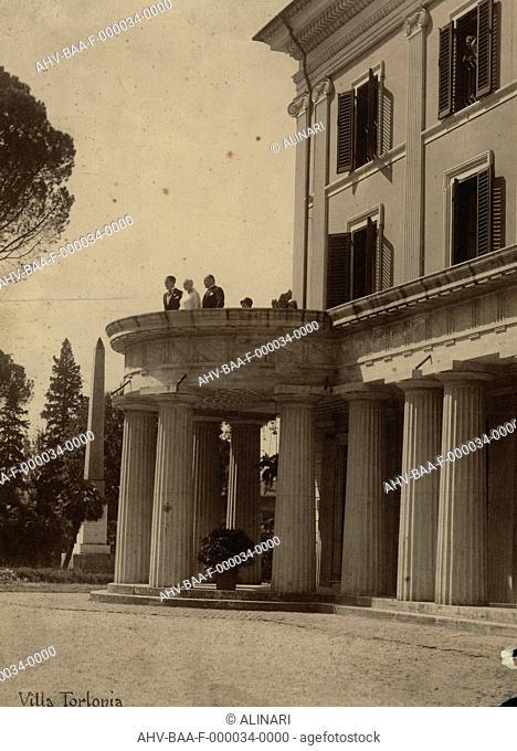 Edda Ciano Mussolini and Benito Mussolini with the terrace of Villa Torlonia, on their wedding day, shot 24/04/1930 by Badodi, Attilio