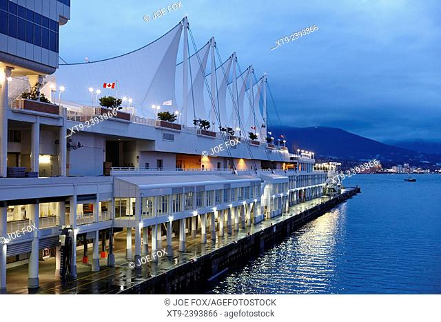 canada place cruise terminal vancouver at dusk BC Canada