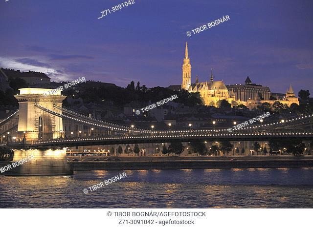 Hungary, Budapest, Matthias Church, Chain Bridge, Danube River,