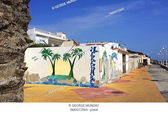 Beach side houses at Algarrobo Costa; Costa Del Sol; Malaga Province; Andalucia; Spain