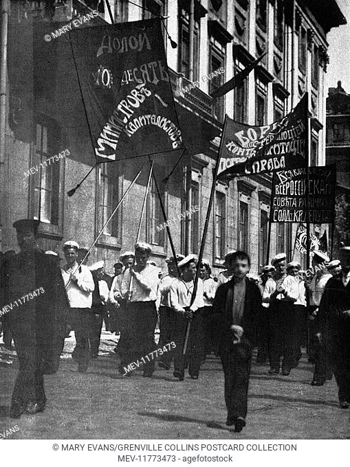 Kronstadt sailors marching with banners in Petrograd (St Petersburg), Russia, during the revolutionary period, summer of 1917