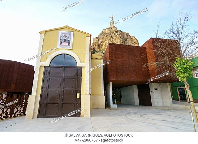 Entrance to the Islamic castle of Monteagudo and the Christ of the Sacred Heart, Murcia, Spain, Europe