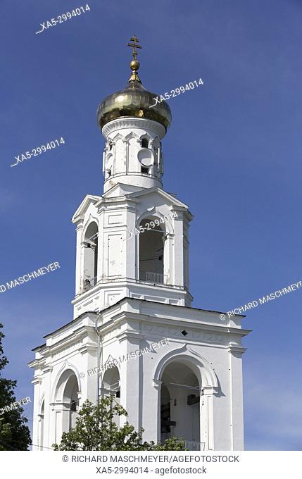 Monastery Belfry, Yuriev Monastery, UNESCO World Heritage Site, Veliky Novgorod, Novgorod Oblast, Russia