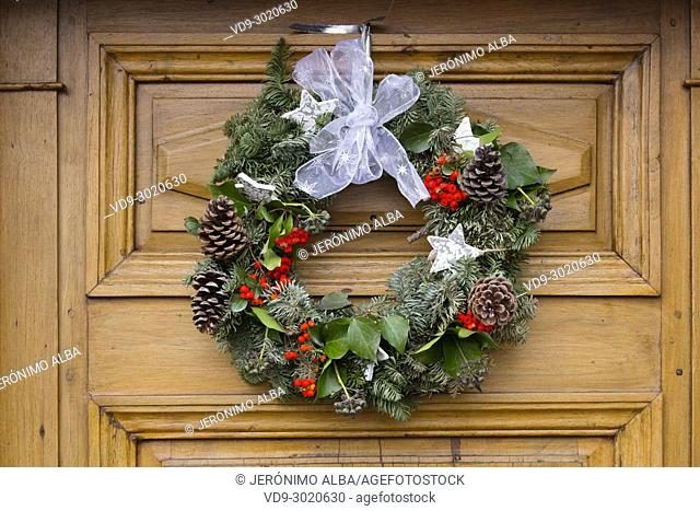 Christmas decoration on the door of a house, Troinex. Geneva. Switzerland; Europe