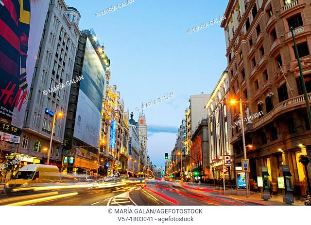 Gran Via, night view. Madrid, Spain