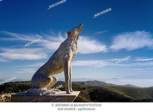 Wolf sculpture, Cañada de los Lobos, Sierra Benalmadena, Malaga province, Andalusia, Spain