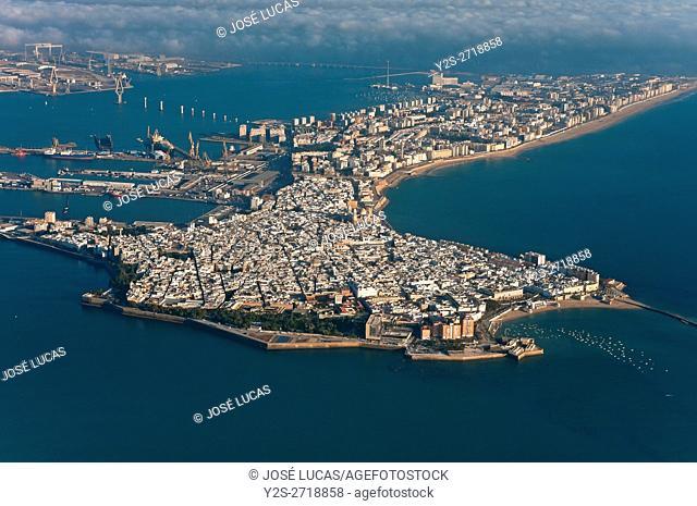 Aerial view, Cadiz, Region of Andalusia, Spain, Europe