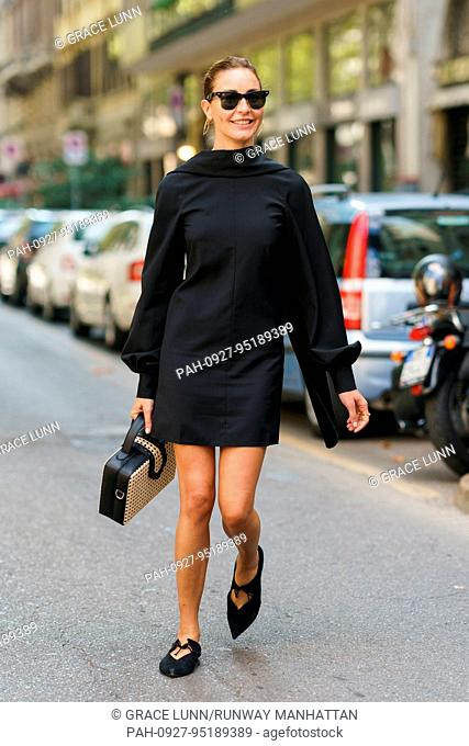 Ece Sukan posing outside of the Dolce & Gabbana runway show during Milan Fashion Week - Sept 24, 2017 - Photo: Runway Manhattan/Grace Lunn ***For Editorial Use...
