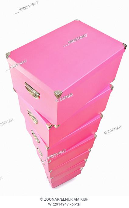 Pink giftboxes isolated on white