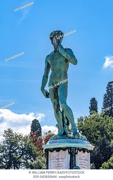 Replica David Statue Michelangelo Square Overlook Florence Tuscany Italy. Built 1873