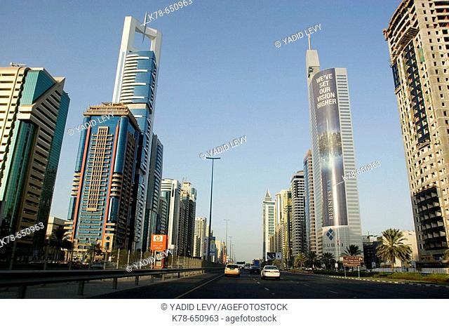 Skyscrapers along Sheikh Zayed road. Dubai, United Arab Emirates