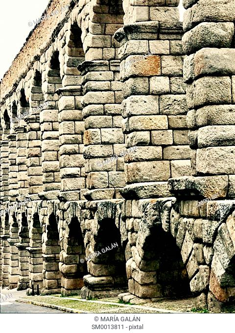 Roman Aqueduct, close view. Segovia, Spain