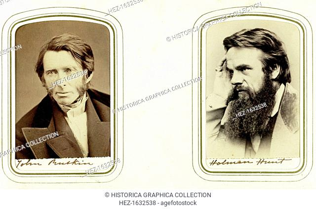 John Ruskin, English artist, poet and critic, and William Holman Hunt, English artist, 1865. Ruskin (1819-1900) was a supporter of the Pre-Raphaelites and an...