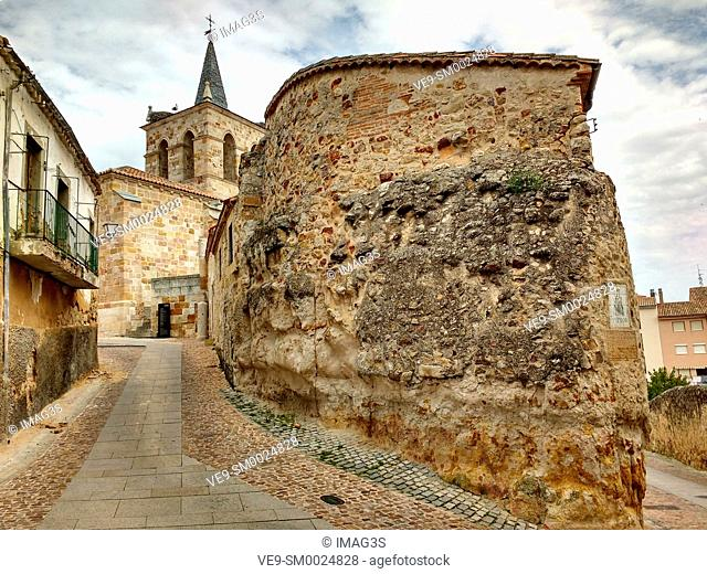 Cuesta de San Cipriano Street and San Cipriano church in background, Zamora, Spain