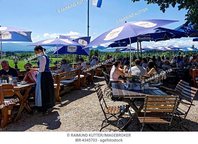 Visitors in the beer garden of Reutberg abbey, Sachsenkam, Isarwinkel, Upper Bavaria, Bavaria, Germany