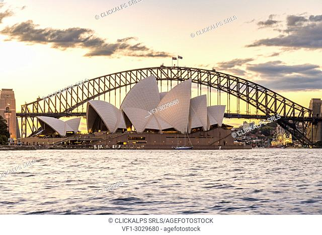 Opera House and Harbour Bridge at sunset, Sydney, New South Whales, Australia