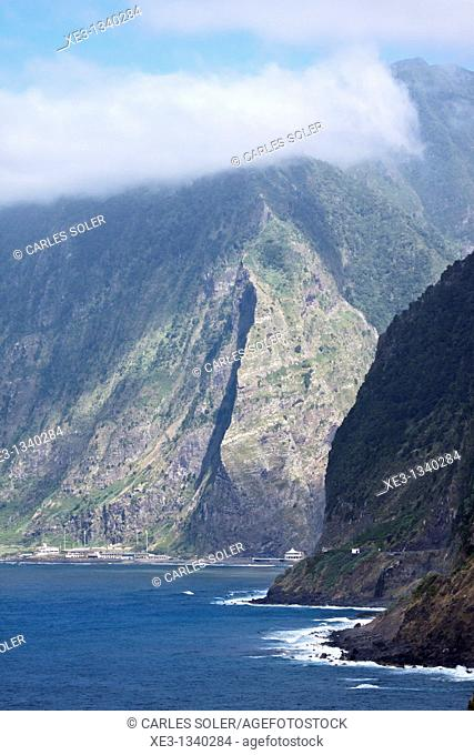 High cliff near Sao Vicente, Madeira, Portugal