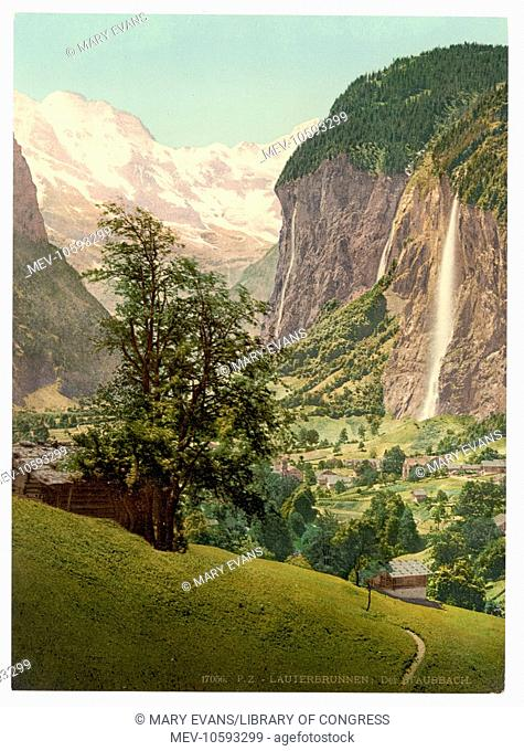 Lauterbrunnen Valley with Staubbach Waterfall, Bernese Oberland, Switzerland. Date between ca. 1890 and ca. 1900