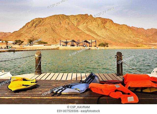 Boat mooring in park Timna