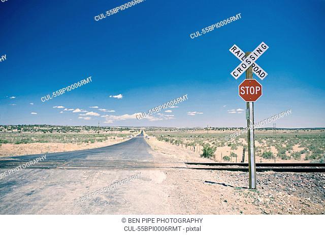 Railroad crossing in New Mexico, USA