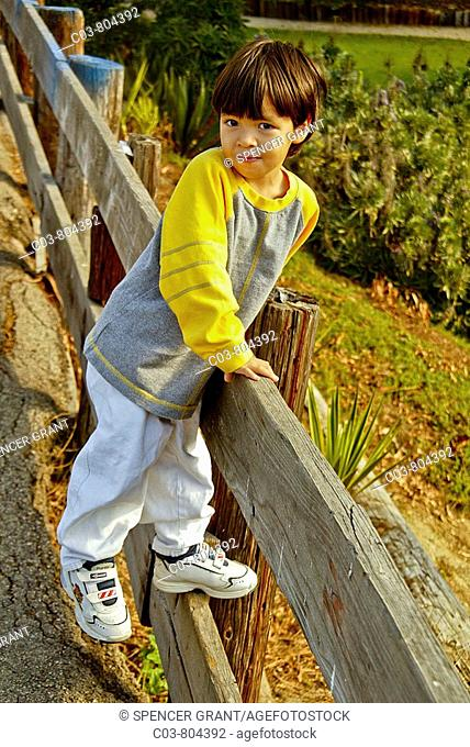 A three-year-old 'blended' Asian-Caucasian boy amuses himself on a sunny afternoon in a Laguna Beach, CA, playground