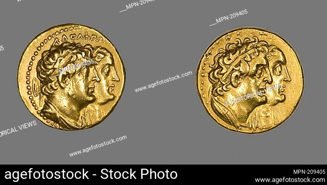 Tetradrachm (Coin) Portraying King Ptolemy II and Queen Arsinoë II - Ptolemaic Period, (after 270 BC), issued by King Ptolemy II