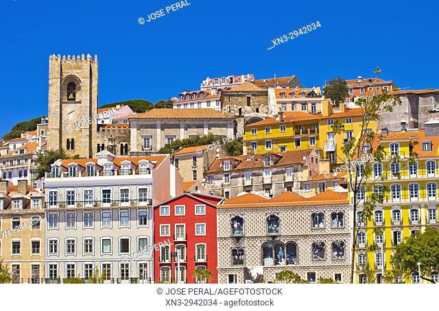 Typical old houses with tiles, Rua dos Bacalhoeiros Street, at left Lisbon Cathedral, Santa Maria Maior de Lisboa or Sé de Lisboa, at right The Casa dos Bicos