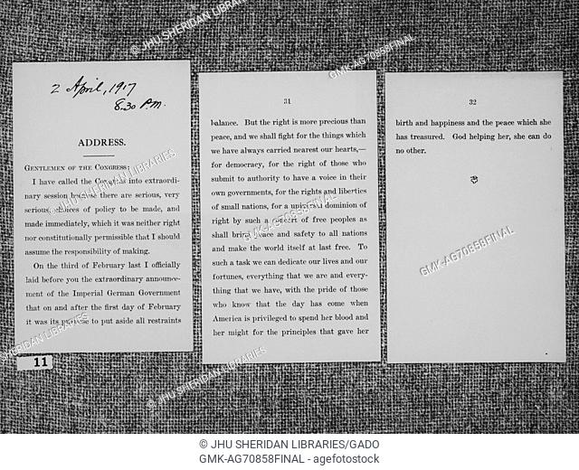 A three page letter to the Congress titled 'ADDRESS' from Woodrow Wilson, former president of the United States, April 2, 1917