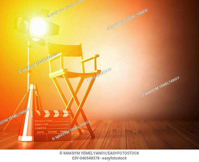 Video, movie, cinema concept. Clapperboard and director chair. Film industry 3d illustration