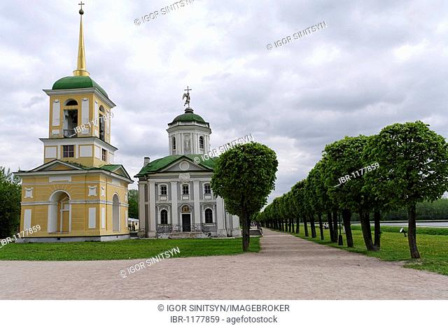 Kuskovo bell and church tower, estate Kuskovo, summer residence of the Sheremetev family, Moscow, Russia