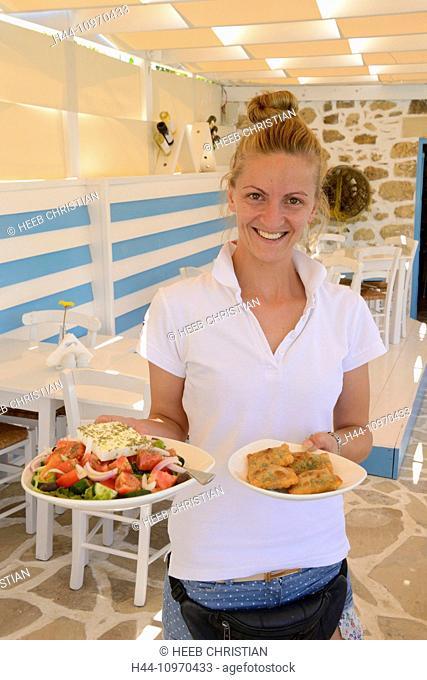 Europe, Greece, Greek, Crete, Mediterranean, island, Matala, restaurant, waitress, salad, server, food, woman