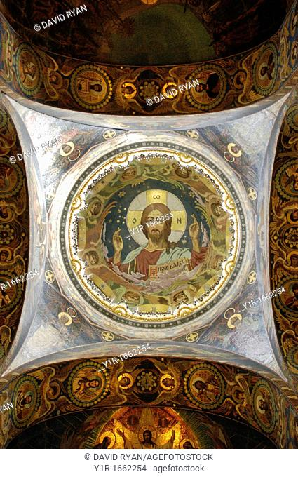 Russia, St  Petersburg,The Church of Our Savior on the Spilled Blood Where Tsar Alexander II was assasinated in 1881, Portrait of Jesus on a dome