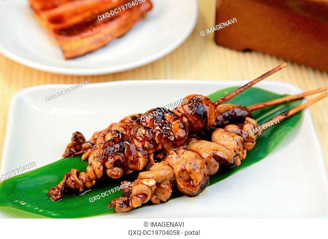 Grilled innards of eel
