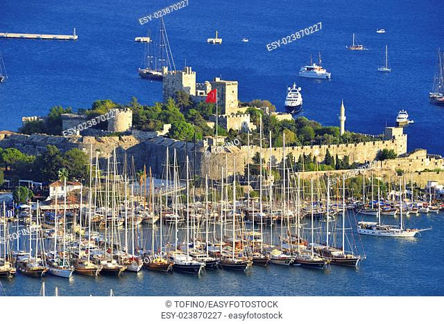 View of Bodrum harbor and Castle of St. Peter. Turkish Riviera
