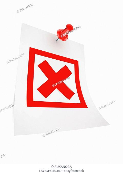 Cross mark icon.Isolated on white background.3d rendered