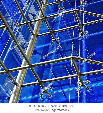 Atrium structural detail in office building, Grand Canal Plaza, Dublin 4, Ireland