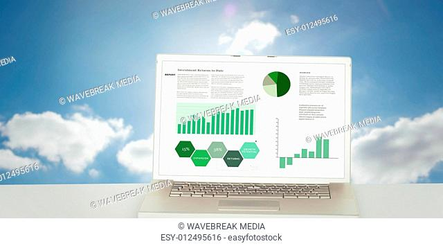 Composite image of business interface with graphs and data