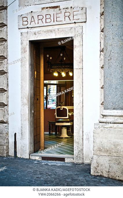 Barber shop in the historic centre, Rome, Italy