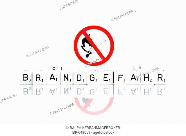 Sign: fire hazard (German: Brandgefahr)