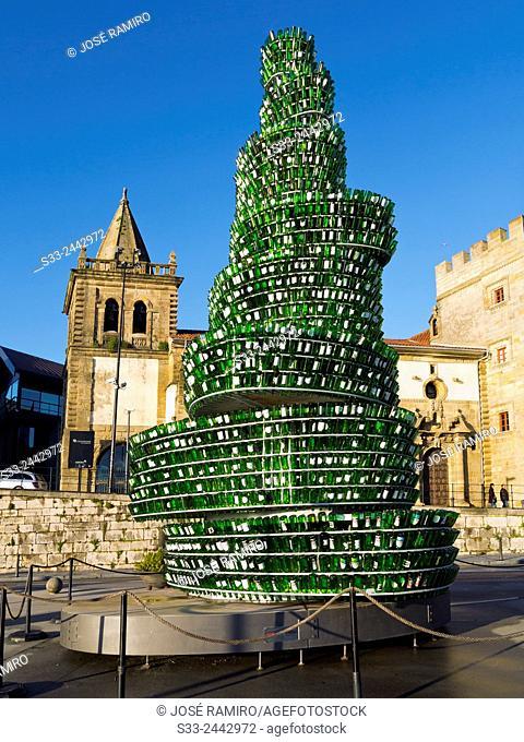 Sidra bottles tower in Gijón. Asturias. Spain