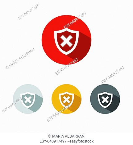 Unprotected shield icon with shade on colored buttons